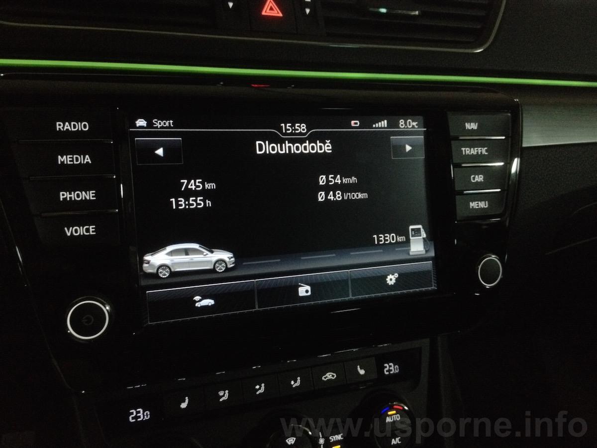 Škoda Superb GreenLine 1,6 TDI 88 kW - skutečná spotřeba