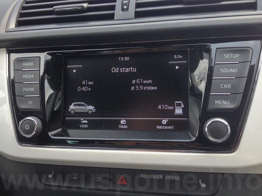 Škoda Fabia 1,4 TDI, spotřeba na okruhu Beroun - Unhošť - Rudná