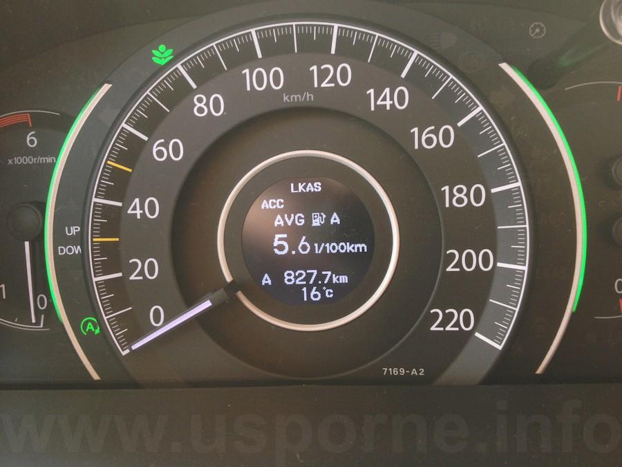 Spotřeba vozu Honda CR-V 1,6 i-DTEC 118 kw během testu dle palubního počítače