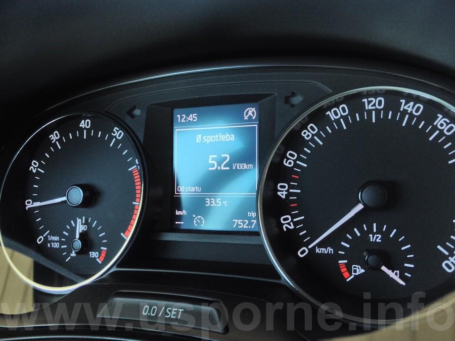 Škoda Fabia 1,2 TSI 81 kW - skutečná spotřeba v testu dle palubního počítače