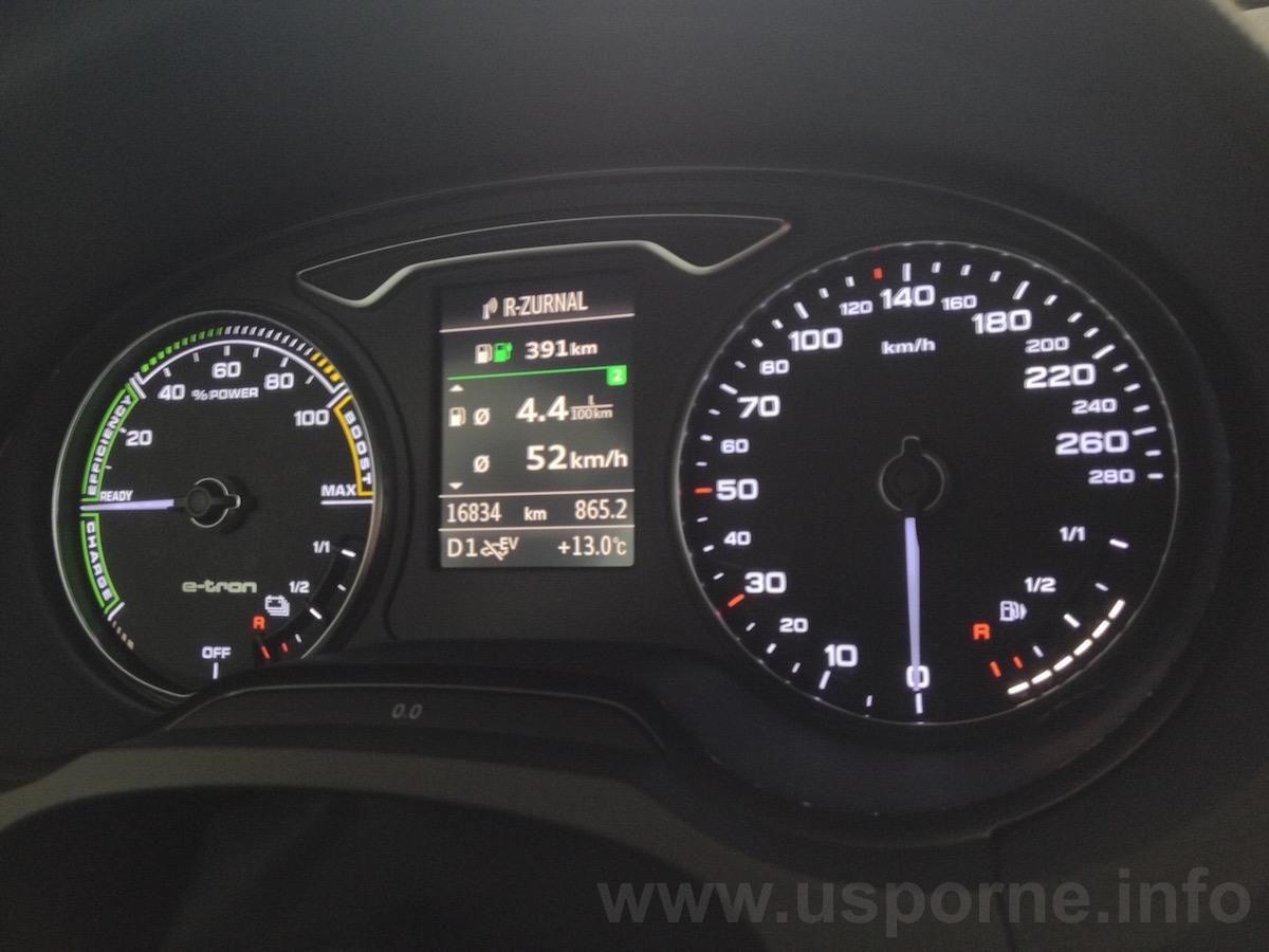 Skutečná spotřeba Audi A3 e-tron byla ještě trochu nižší