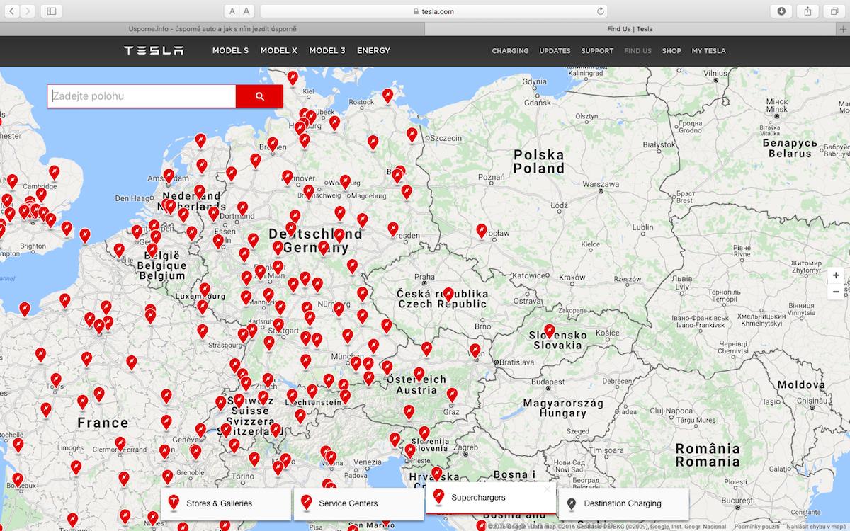 Síť rychlodobíječek Tesla SuperCharger v Evropě