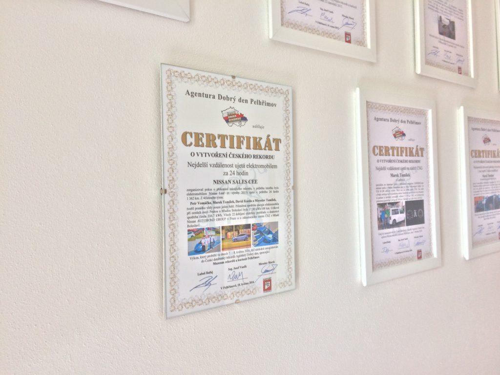 Certifikát o českém rekordu