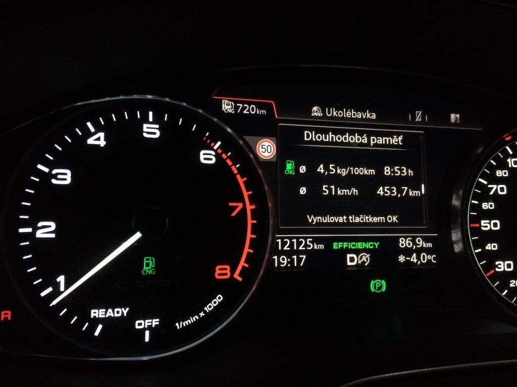 Audi A5 g-tron - skutečná spotřeba
