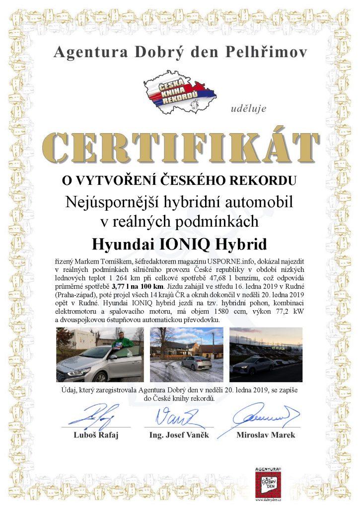 CERTIFIKÁT - Nejúspornější hybridní automobil v reálných podmínkách