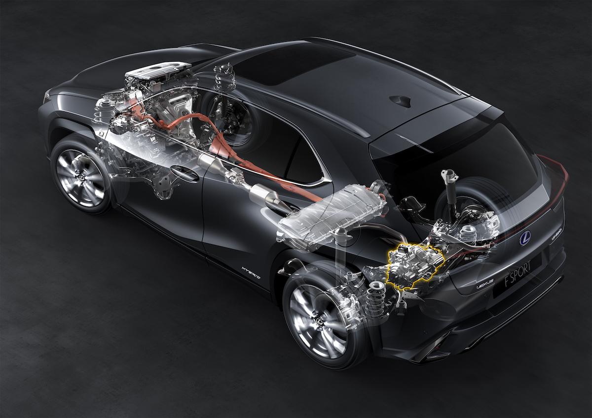 Lexus UX250h - schéma hybridního pohonu