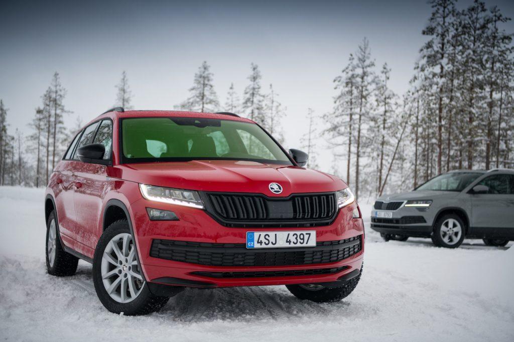 Škoda Kodiaq a Škoda Karoq na sněhu