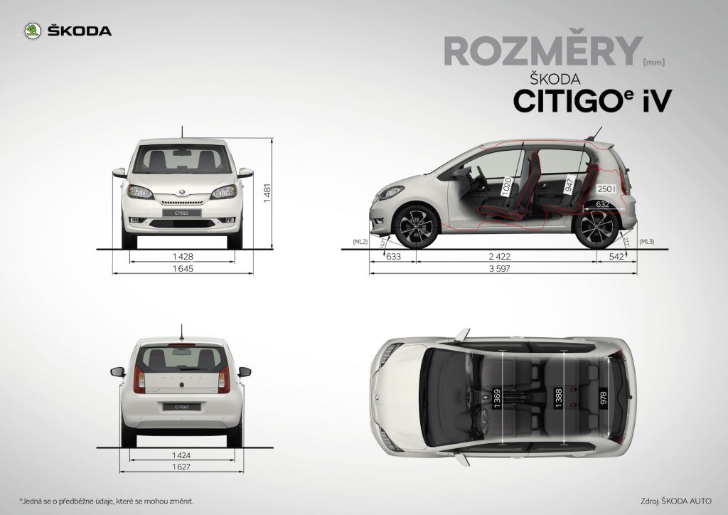 Škoda Citigo e iV - rozměry