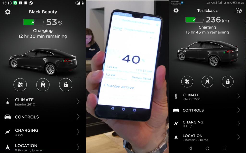 Aplikace - stav nabití Tesla Model S, Audi e-tron a Tesla Model X