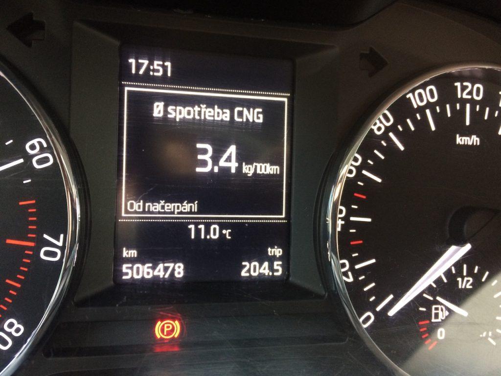 Škoda Octavia G-TEC, spotreba 3,4kg CNG na 100km