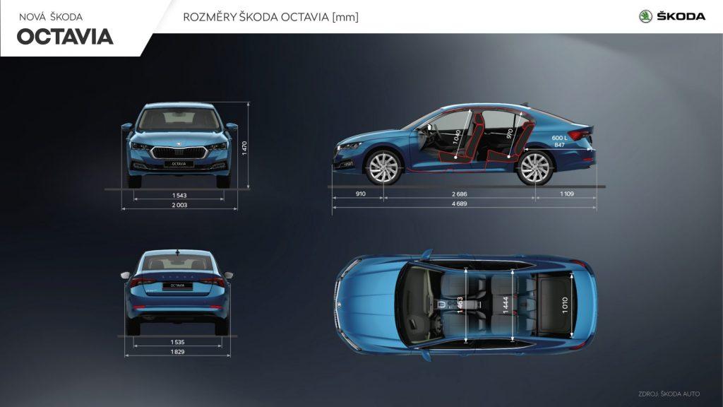Nová Škoda Octavia liftback - rozměry
