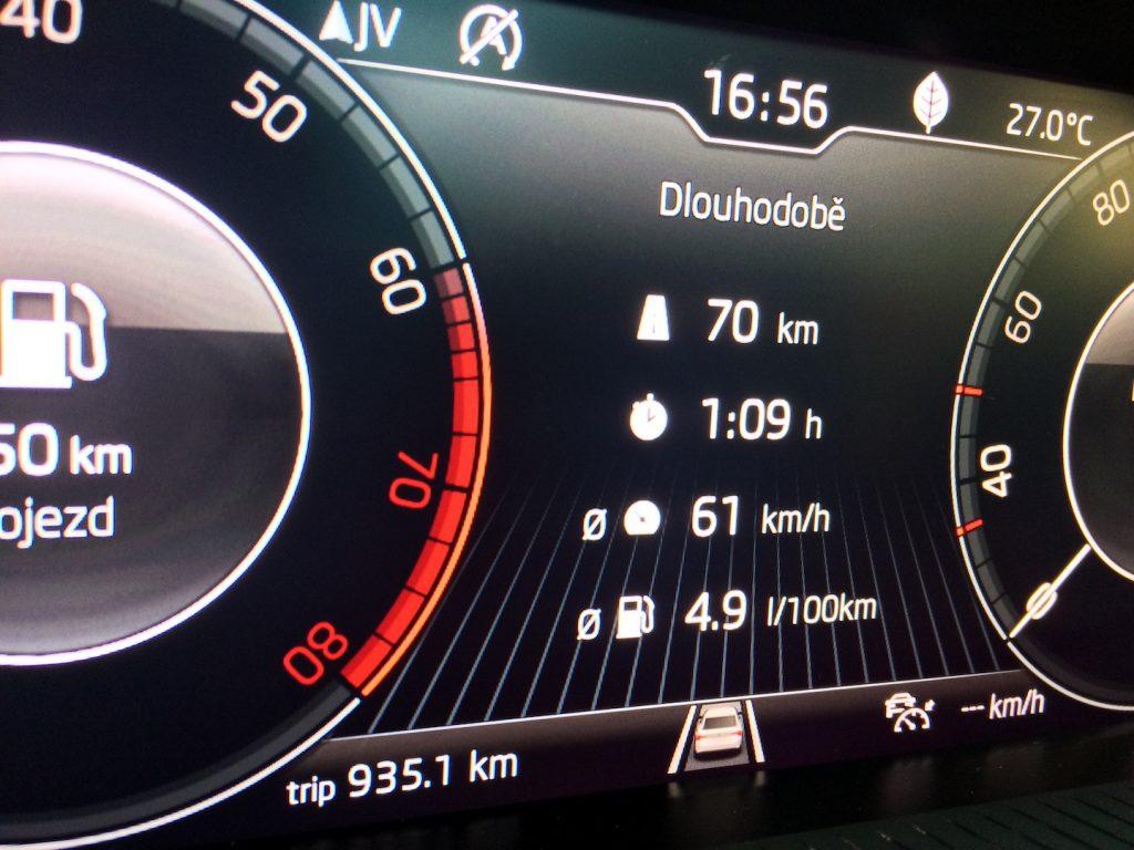 Škoda Scala 1.0 TSI 85 kW - skutečná spotřeba
