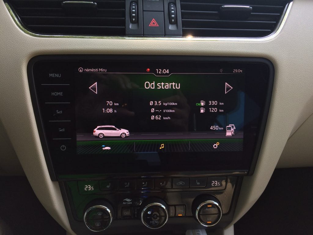 Škoda Octavia Combi 1.5 G-TEC 96 kW DSG - spotřeba, kombinovaný okruh