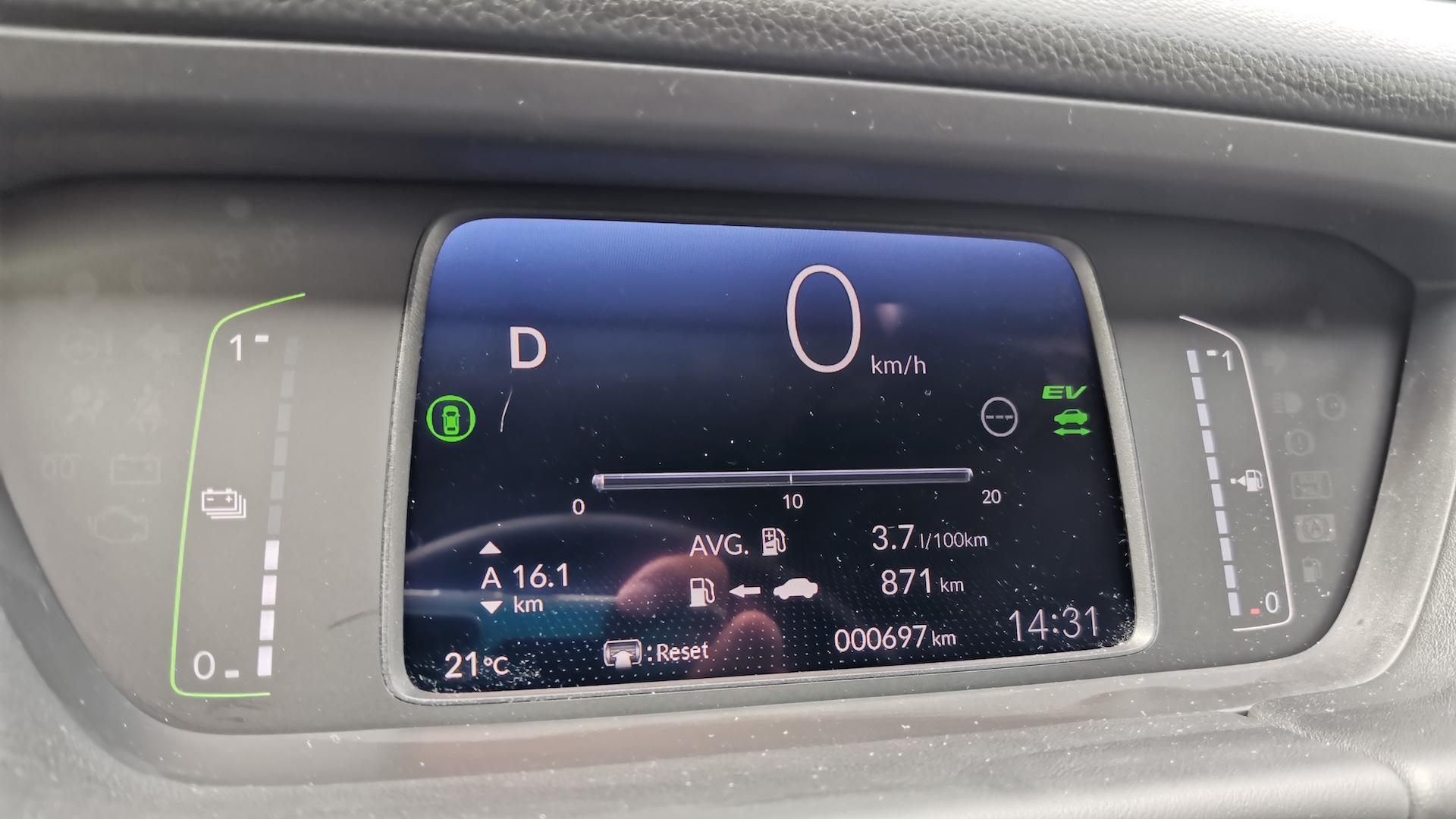 Honda Jazz - spotřeba město (palubní počítač)