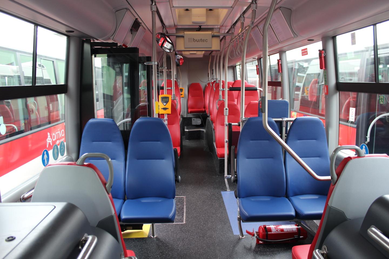Interiér autobusu Scania Citywide LF na CNG