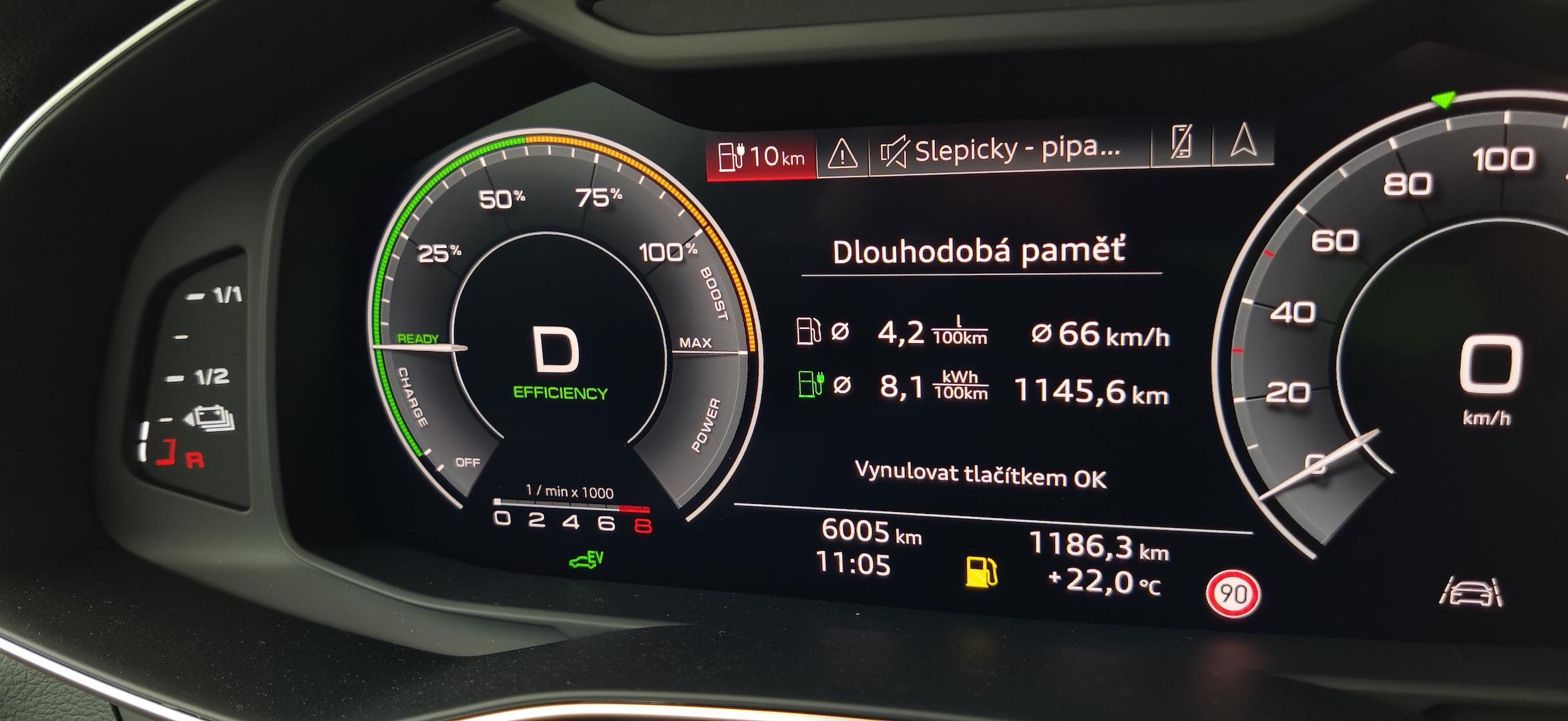 Audi A7 Sportback 55 TFSI e Quattro - skutečná spotřeba