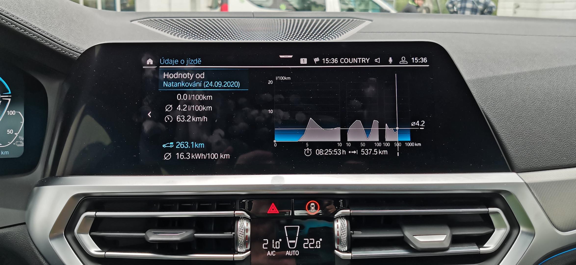 BMW 330e - skutečná spotřeba