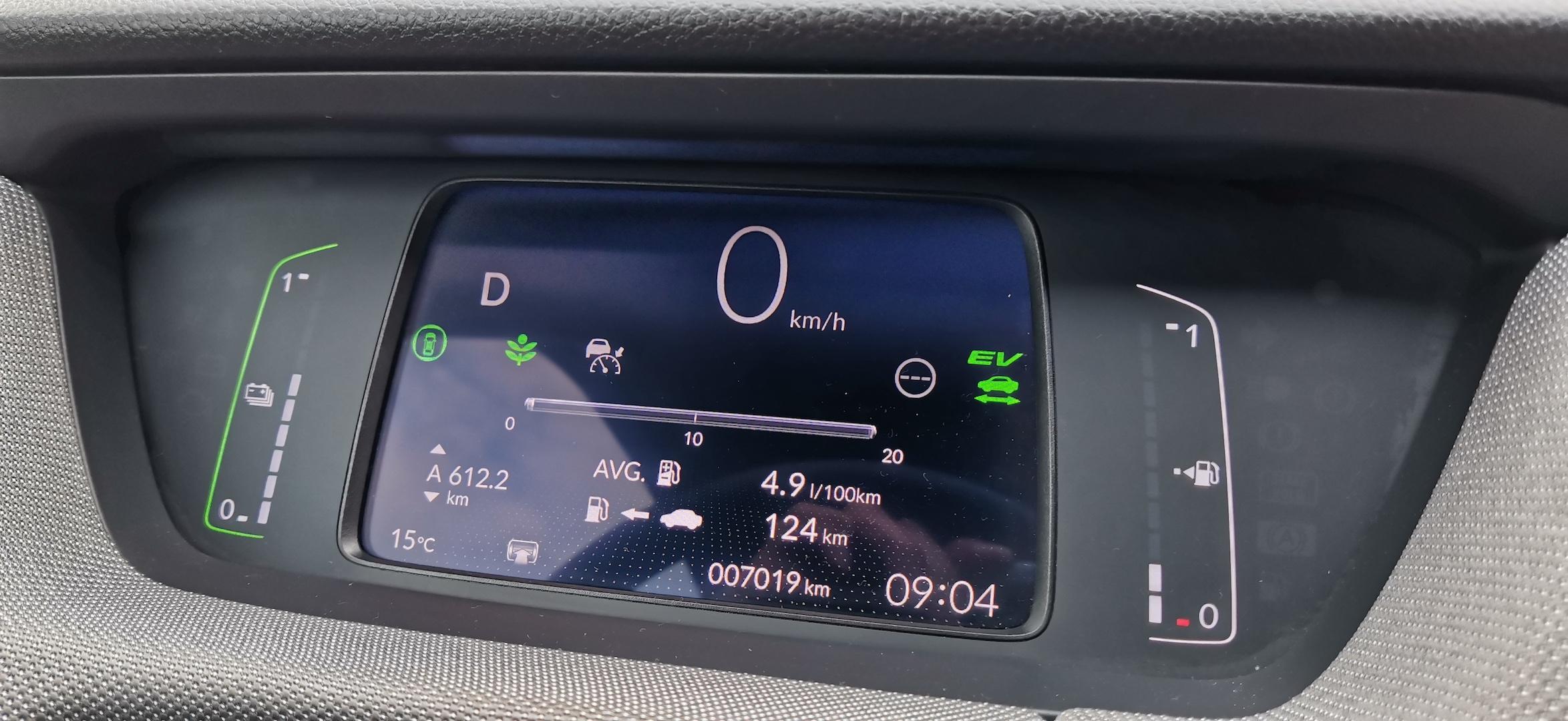 Honda Jazz Hybrid Crosstar - spotřeba podle palubního počítače za celý test